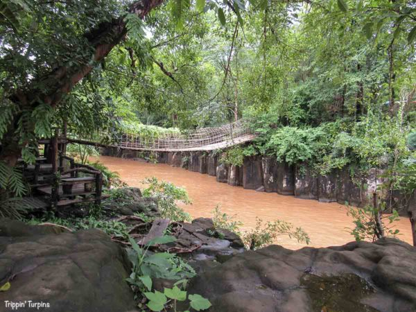 The Bamboo Bridge at Pasuam Waterfall, Laos